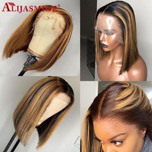 #4 27 выделите парик Ombre коричневый мед блондинка Короткий боб парик 13x6 кружева фронт человеческих волос парики для женщин бразильский Реми цветные парики