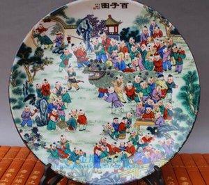 Antique Collection Antique Porcelain Jingdezhen Pastel Porcelain Baizi Figure Plate Decoration Buy Plate Send Frame
