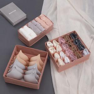 3pcs / set no tejido de la ropa interior de tela organizador Armario caja de almacenamiento de la ropa interior del cajón organizador de la caja plegable Bras calcetines T200319