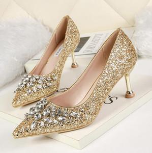 6cm del brillo del oro plata diamantes de imitación de cristal señaló bombas talón del gatito las mujeres zapatos de novia de la boda de lujo prom zapatos de vestir de tamaño de 34 a 40