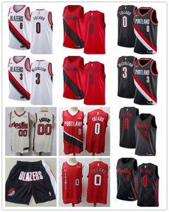 Mens PortlandTrailBlazers Throwback Damian 0 Lillard C.J. 3 McCollum Clyde 22 Drexler 00 Basketball Shorts Red Basketball Jersey