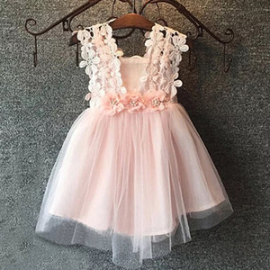 Neonate del bambino del vestito dal tutu Fiore pizzo all'uncinetto cinghie maniche lunghe / maniche principessa Infant Tulle Vestito estivo