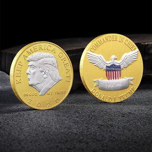 2020 Trump pièce commémorative en argent tête Médaille américaine 45ème Président Donald Craft Badge Souvenir Argent Métal Or Collection non Devise de libellé