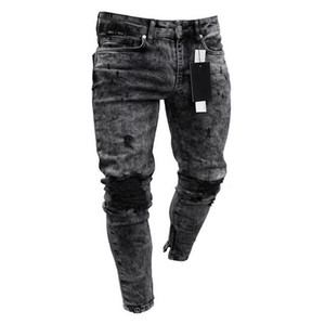 2019 gym New fashion trend men's hole-in-hole jeans European and American elastic jeans new men's trousers