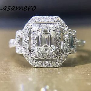 LASAMERO 0.50ct Emerald Cut or double Halo diamant Accents Natural Half Eternity engagement de mariage Promise Ring S200117