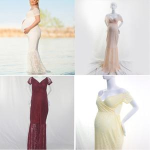 Hamile Elbiseler Kadın Gelinlik Hamile Kıyafetleri Omuz Katı Kat Uzunluk Kısa Kollu Dantel Anti-Radyasyon 23