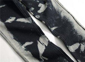 Mens Grau Designer-Jeans Spots Stretch Regular Lange Bleistift-Hosen-mittlere Taillen-Drucken Herren-Hosen