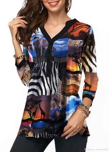 Blusen lose Tier gedruckte Frauen-Shirts Weibliche Mode Kleidung der neuen Ankunfts-Frühlings-Frauen mit V-Ausschnitt