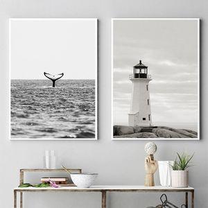 Preto e branco do farol Poster Beach Art Pintura Whale Poster nórdicos Posters E Print Impressos minimalista Wall Art Home Decor