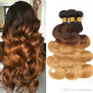 1B 4 27 Body Wave Bundles Ombre Human Hair Bundles #1B 4 27 Brown Blonde Malaysian Virgin Body Wave Hair Bundles Wholesale Deal