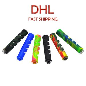 Glass & FDA Silicone One Hitter Pipes Tobacco Smoking Herb Pipe Hose 90MM Cigarette Holder DHL shipping