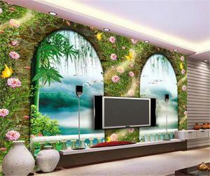 룸 침실 배경 벽 장식 벽화 벽지를 거실 사용자 정의 3D 배경 화면 유럽 3D 문과 창문 강남 로마 열
