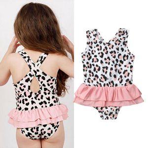 Один кусок малыш новорожденных девочек леопарда печати купальник купальники купальный костюм юбка пляж костюм купальный костюм