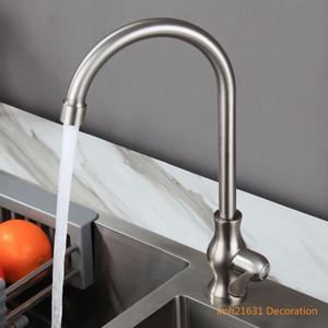 Tek soğuk musluk filtre su bar restoran sink döner Kaliteli SUS304 paslanmaz çelik mutfak musluk fırça