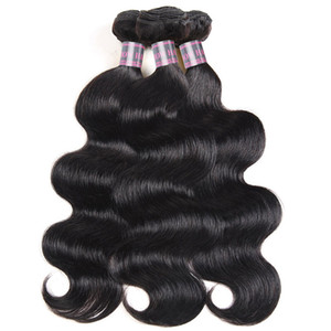 Fasci di capelli umani indiani non trasformati 3 pezzi Brasiliani dell'onda del corpo trama dei capelli estensioni dei capelli malesi peruviano a buon mercato all'ingrosso