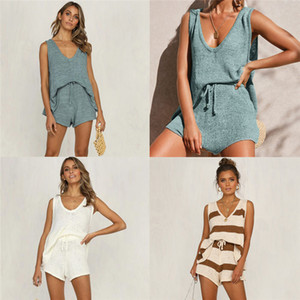 Womens Tank Tie Knit Two Piece Summer Fashion Solid Color tiefe V-Ausschnitt Lace Shorts Zweiteiler