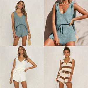Set pedaço tanque das mulheres Tie Knit Two Piece Summer Fashion cor sólida profunda V Neck Lace Shorts Two