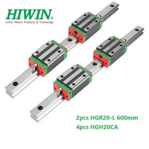 2pcs Original New HIWIN HGR20 - 600mm linear guide rail + 4pcs HGH20CA linear narrow blocks for cnc router parts