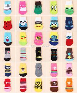Chaussettes pour chien en hiver, chaud, mignon, chiots, coton doux, anti-dérapant, en tricot, tissage, chaussette, bas, chaussettes, vêtements pour chiens, sans DHL HH7-2035