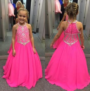 Fuşya Halter Şifon Kız Pageant elbise Boncuklu Rhinestones En Bir Çizgi Kat Uzunluk kızın Pageant elbise BA7601