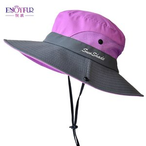 ENJOYFUR verano de ala ancha sombreros de Sun para las mujeres al aire libre Protección UV Cap Cola de caballo plegable y transpirable sombrero de la pesca Y200102