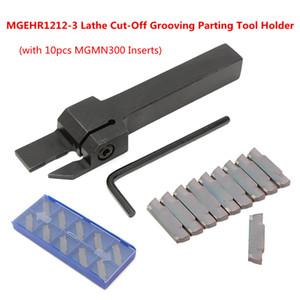 10 unids MGMN300 Inserts + MGEHR1212-3 Torno de corte Ranurado Parting Tool Holder Llave Juego de herramientas de torneado Madera para trabajar metales