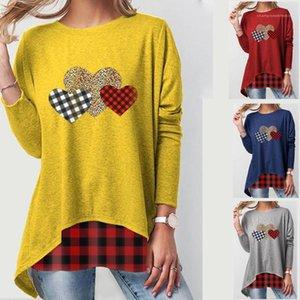 Ladies Casual Tee Love and Plaid Print Designer Womens Tshirts Fashion Long Sleeve Womens Crew Neck Top Summer