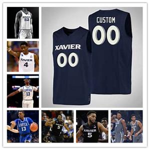 Personalizzato NCAA Xavier Musketeers Bianco Nero Blu 0 Tyrique Jones 13 Naji Marshall 55 JP Macura 5 Trevon 2019 College Basketball Jersey Mens