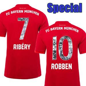 Fonte Especial com # 7 RIBERY # 10 ROBBEN Bayern Camisas de Futebol 19 20 Bayern de Munique Camisas de Futebol # 13 RAFINHA Uniformes de Futebol transporte da gota