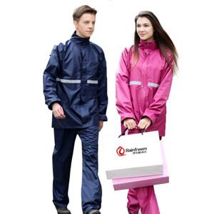 Açık çift katmanlı yansıtıcı şerit erkekler kadınlar ceket pantolon yağmur dişli panço tırmanma balıkçılık kamp sürme spor uyacak yağmurluk