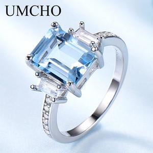 UMCHO Mavi Topaz Gemstone Rings Kadınlar Orijinal 925 Gümüş Aquamarine Yüzük Romantik Düğün Nişan Güzel Takı için