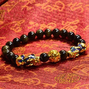 Perles d'or Feng Shui Obsidian Pierre Bracelet Hommes Femmes unisexe Bracelet Pixiu richesse et bonne chance Noir Bracelets Bijoux