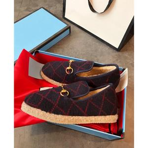 Дизайнер роскошные шерстяные мокасины мулы женщины плоские повседневная обувь металлическая пряжка аутентичные старинные эспадрильи обувь Женская кожа роскошные туфли 35-40