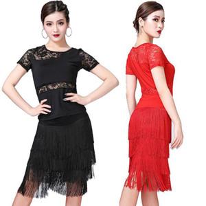 Femmes Couleur unie O-Neck Lace Perspective Chemise manches courtes Bordée Latin Dance Dress Performance Vêtements exercice