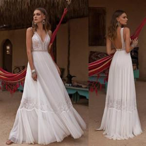 Asaf Dadush 2020 vestito da boho Abiti da sposa con scollo a V Appliqued merletto Backless Bohemian sposa A Beach Line Abiti da sposa Robe de mariée