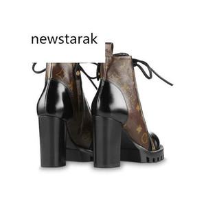 Famosos zapatos de marca botas de cuero para mujer Star Trail popular tacón grueso Cordón de cuero negro suela de goma de lujo 1a2y7w caja de botas