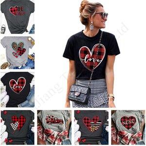 2020 Sevgililer Günü Kadınlar Tişörtlü Ekose Kalp Love Letter Kısa Kollu Paneli Raglan Spor Tee Casual Yaz Kazak Bezi E1904 Tops