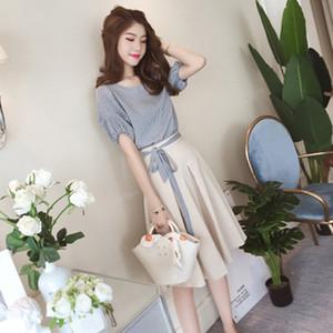 TiLeewon Summer Dress Set No Fade No Shap 2 pièces Assortiments pour les femmes coréenne style Une ligne robe d'été