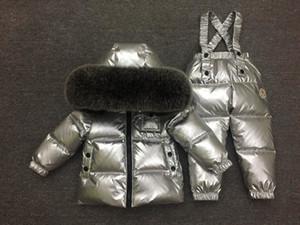 ملابس الفضة روسيا -30 درجة طفل مجموعة العلامة التجارية صامد للريح بطة البدلة الدافئة أسفل سترة رومبير مجموعة الملابس الثعلب الطبيعي الفراء تزلج مجموعة CJ191210