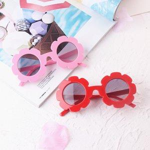 Wholesale 2019 NEW arrived Sun Flower Round Cute kids sunglasses UV400 Boy&girl Lovely baby glasses Children Oculos de sol N554