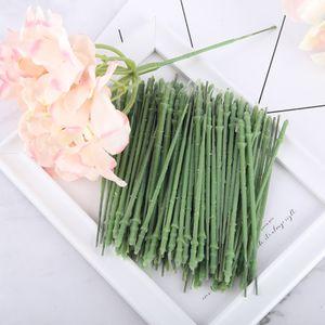 100pc 12.5cm short green stem for artificial flower head hydrangea rose peony DIY accessories decoration branch wire diameter 4mm