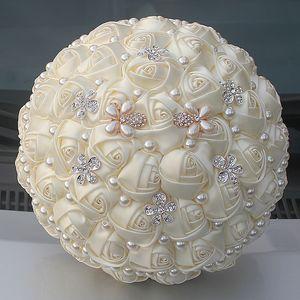 Milky White Bouquets Bridal Ювелирные Изделия Невесты Букеты Свадьба Холдинг Цветы Роскошный Горный Хрусталь Жемчужные Банкетные Аксессуары