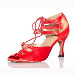 Woman Ballroom Latin Dance Shoes Black Red Salsa Tango Samba Kizomba Bachata Social Dance Shoes High Heel 7.5 8.5 10cm 1810