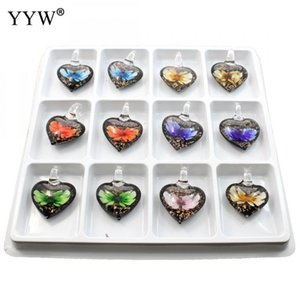 12pcs Box Mixed Colors Inner Flower Lampworked Glass Pendants Western Heart Pendant Charm With Necklace Earring Pendants 2020