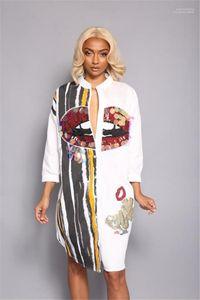 Striped Pencil Dress Button Fashion Street Dress Women Big Mouth Print Sequins Shirt Dress Long Sleeve Casual