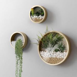 3PCS 크리 에이 티브 라운드 철 아트 벽 꽃병 현대 간략 한 벽 교수형 꽃 냄비 인공 꽃 다 즙 식물 화분 홈 장식