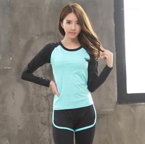 Спорт Йога Tshirt Тонкий с длинным рукавом Йога Одежда Женщины Аэробика Run Coat Потливость Фитнес Plus Quick Dry