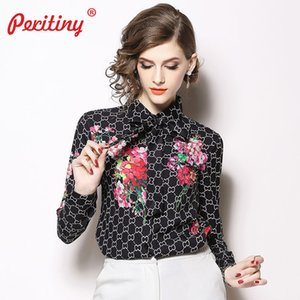 Peritiny Blouses Vintage femmes Tie manches longues turn-down Col femmes Workwear moderne Lady Floral Vintage Tops MX19070501