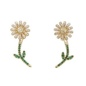 جديد صغير لطيف لامعة متعدد الألوان أصفر أخضر عباد الشمس وأقراط للنساء أزياء حلوة صغيرة خضراء تشيكوسلوفاكيا الأذن مجوهرات أنيقة