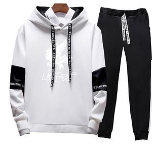 Tracksuit Hoodie 2PCS Set Sweatshirt Men Hip Hop patchwork Long Sleeve Pullover contrast Hoodies Sweatshirt hoodies Men high quality